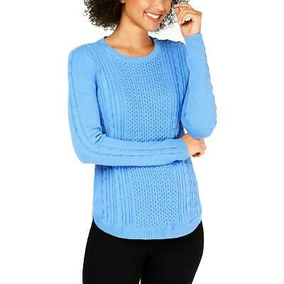 Charter Club Womens Blue Ribbed Trim Pullover Sweater Top Petites PM BHFO 7419