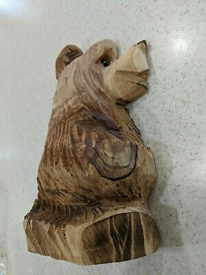 New Hand Carved Solid Wood Grizzly Bear Book End