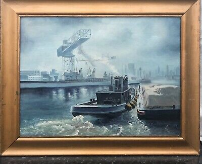 1930/40s BRITISH IMPRESSIONIST OIL PAINTING OF BOATS ON THAMES - E.H.FLETCHER  ?