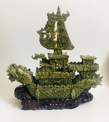 """VT 16""""Large Chinese Hand Carved Natural Jade Dragon Incense statue Dragon Boat"""