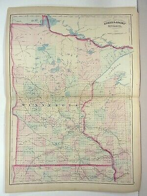 1872 ASHER & ADAMS ATLAS MAP of MINNESOTA WITH 4 GAZETTEER PAGES