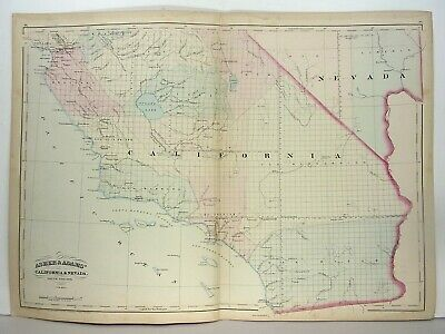 1872 ASHER & ADAMS ATLAS 2 MAPS of CALIFORNIA & NEVADA WITH 4 GAZETTEER PAGES