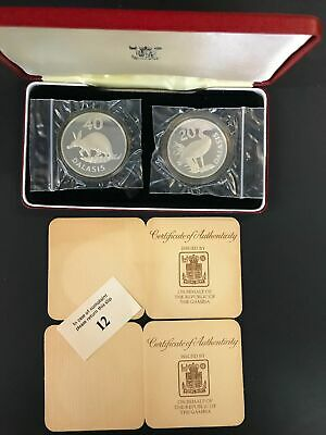 1977 Gambia Goose and Aardvark Conservation Silver 2 Coin Proof Set          m2