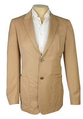 NWT $3995 Zegna Couture Tan Beige Solid Jacket 100% Wool NEW Size 38 R