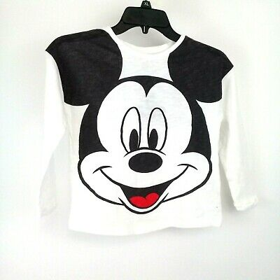 ZARA GIRLS NWT Size 7 MICKEY MOUSE Off White/Black T-Shirt with Back Slogan