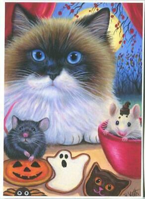 Aceo Siamese Rag Doll Cat Halloween Black Mouse Bake Ghost Pumpkin Cookies Print