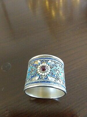 Russian Silver & Enamel Serviette Ring With Central Garnet Cabochon Marked 84