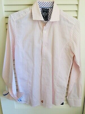TED BAKER London Mens Pink Gingham Check Fitted Button Front Shirt Size 15.5