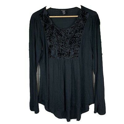 Style & Co Womens Black Long Sleeve Blouse Size Large