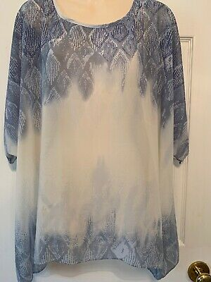 CABI BLOUSE SIZE LARGE SLEEVELESS SEMi SHEER BLUE