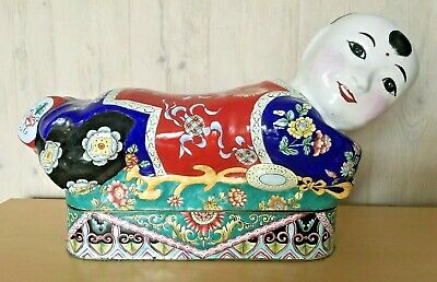 Antique Chinese Cloisonne Enamel Brass Hand Painted Crouching Boy Box