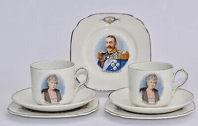 Two 1935 Empire KING GEORGE V Silver Jubilee Trios & 1 Spare Cake/Side Plate