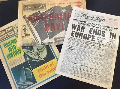 Old Newspapers - War Ends 1945, Australia Wins Americas Cup 1983
