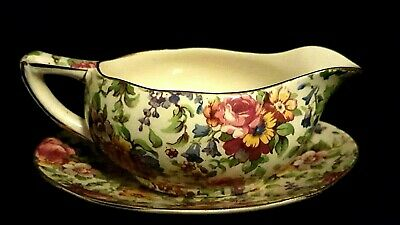 Vintage Royal Winton Grimwades Summertime Chintz Mint Dish and Stand circa 1930s