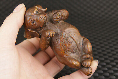 Art Rare chinese old boxwood hand carving dog figure statue pendant netsuke