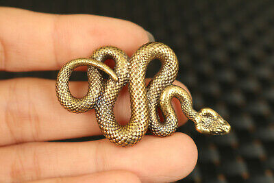 Chinese old copper hand cast snake statue Pendant Netsuke necklace noble gift