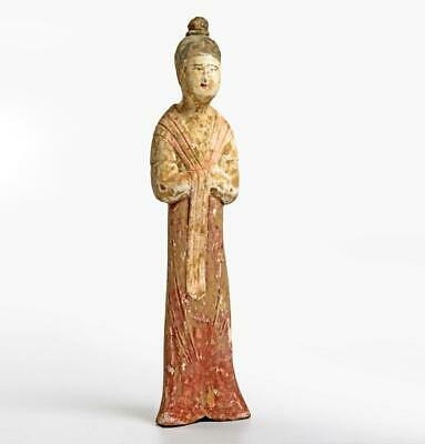 Chinese Tang dynasty pottery statuette of an official; 7th-8th century.