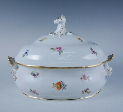 Antique German Meissen Hand Painted Scattered Flowers Porcelain Lidded Tureen