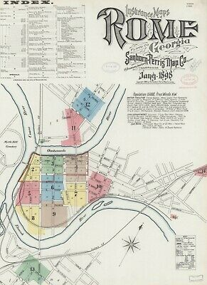 Rome, Georgia~ Sanborn Map©sheets~1885, 1888, 1893, 1898 with 52 maps in  color