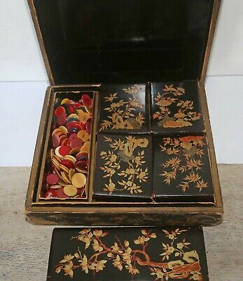 Antique Chinese Laquer Chinoiserie Counter/Gaming Box
