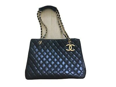 CHANEL COCO Quilted Matelasse Lambskin CC Logo GoldChain Shoulder Tote Bag Black
