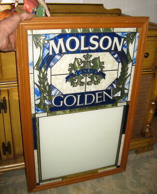 Vintage Stained Glass Window 1990 Molson Golden Beer Sign Advertisement