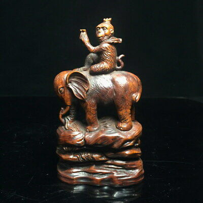 Collectable Precious Decor China Boxwood Carving Monkey Rides Exquisite Statue
