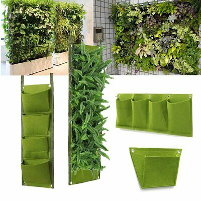 1or 4 Pockets Vertical Wall Garden Hanging Planting Planter Bags for Herb Flower