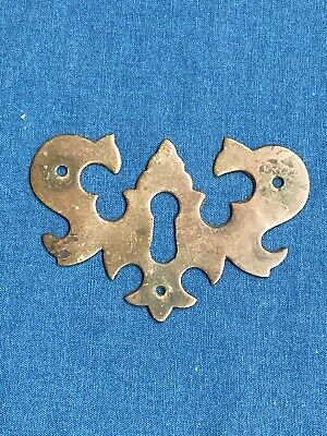 Antique Brass Chippendale Batwing Escutcheon Key Hole Cover Reclaimed Hardware