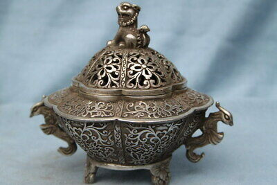 Collectable Rare Miao Silver Carving Hollow Out Flower & Lion Exquisite Tea Pot