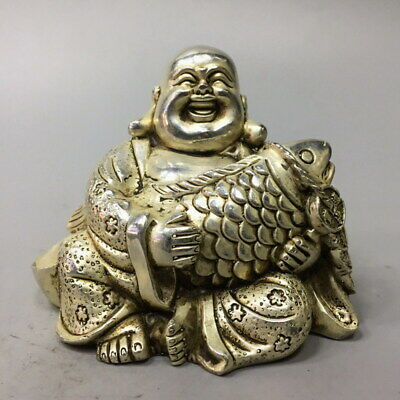 Exquisite Miao Silver Carving Buddha Hold Fish Auspicious Noble Beautiful Statue