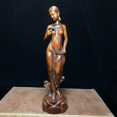 Exquisite Decoration Boxwood Carving Woman Pajamas Beautiful Exquisite Statue