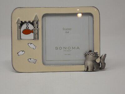 SONOMA 4x4 Metal Frame - Beige in Color / Decorated With Metal Cat and Fish