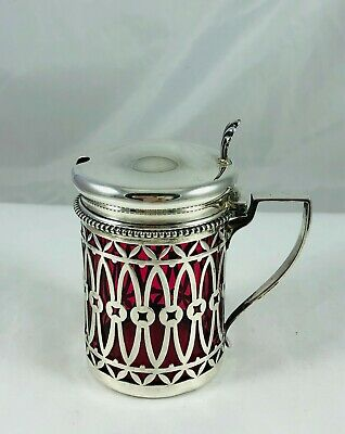 Antique Sterling Silver Pierced&Cranberry Glass Liner Mustard Condiment Jar