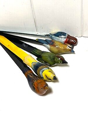 5 Hand Carved Wood Hand Painted Lacquered Bird Letter Opener  Book Marker