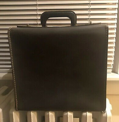 Navy Blue Leather Train Case Travel Box Projector Equipment Vintage Briefcase