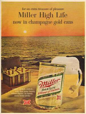 Miller High Life Beer Ad Metal Sign FREE SHIPPING Vintage Bar Decor