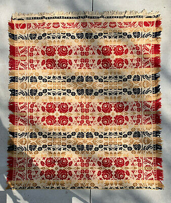 Antique Jacquard Coverlet - Red, White & Gold - Double Rose Pattern - Beautiful!