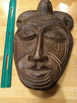 Hand Carved Wooden  Mask Wall Hanging