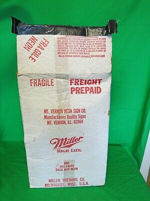 Rare Vintage Mini Miller High Life Neon Beer Sign 1980's - Small Bar Back Style