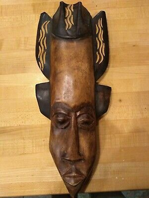 Hand Carved Wooden Mask African made in Ghana