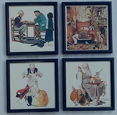 Stunning A Set Of Four Vintage Print Painting By The Greatest Norman Rockwell