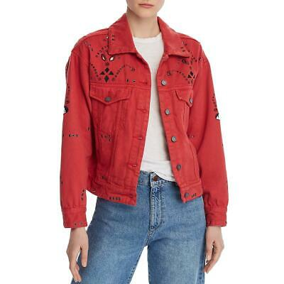 Blank NYC Womens Red Cotton Embroidered Denim Jacket Outerwear XS BHFO 2134