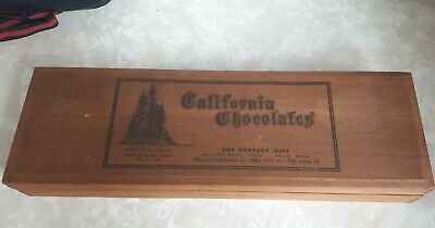 California chocolates wooden box made in Australia  old collectable