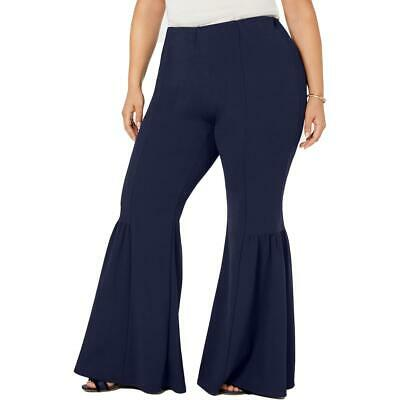 NY Collection Womens Navy Stretch High-RIi Bell-Bottom Pants 2X BHFO 3404