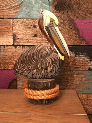 Wood and Metal Carved And Hand Painted Pelican Sculpture - Nautical Home Decor