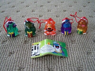 Lot Of 5 Vintage Christmas Yowies Clear 1995 Crag Ditty Boof Rumble Squish