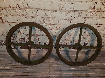 Large Antique Pair Old Industrial Heavy Duty Cast Iron Shepard Hut Wagon Wheels
