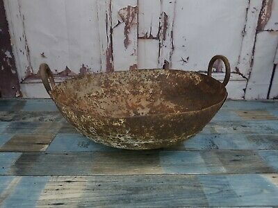 Antique Vintage Indian Hand Made Riveted Rustic Kadai Cooking Pot Bowl Dish
