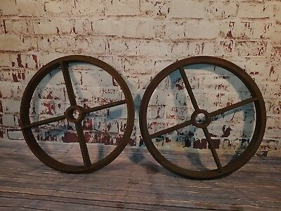 Large Vintage Pair Old Industrial Heavy Duty Cast Iron Shepards Hut Wagon Wheels